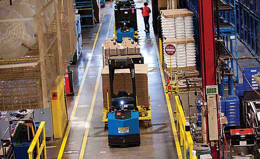 Vision-guided vehicles Deliver Parts to Appliance Assembly Line