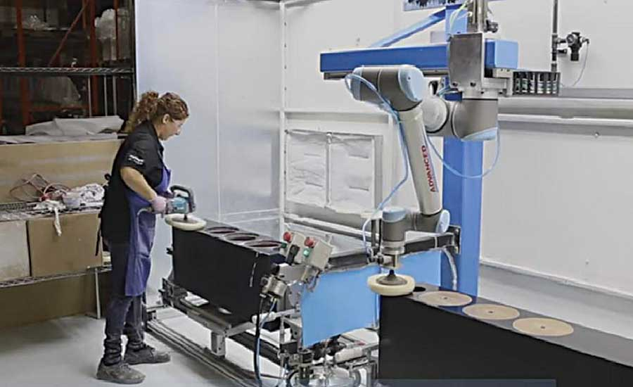 Collaborative Robot Polishes Speaker Cabinet