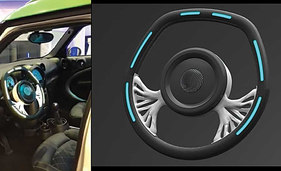 Illuminated Steering Wheel Equipped With 3D-Printed Electronics