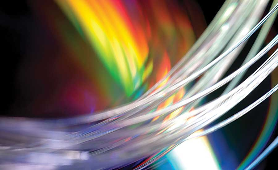 Optical fibers can transmit data at much faster speeds than traditional aluminum or copper wire