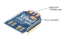 Figure 1: Standard XBee module with U.FL connector and mount for RPSMA connector.